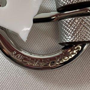 Michael Kors Accessories - NWT Michael Kors Silver Leather & Chain Belt SizeM